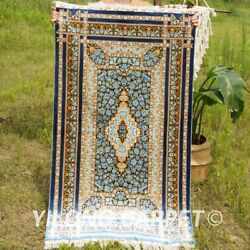Yilong 3and039x5and039 Blue Roses Handwoven Silk Carpet Luxury Home Turkish Area Rug Z309a