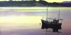 Original Oil By Max Hayslette Study Quiet Of The Evening Boat Painting 24x12