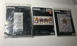 Janlynn Counted Cross Stitch Kit Lot Of 3 Welcome Banner Bloom Planted Alphabet