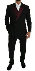 Dolce And Gabbana Suit Martini Black Double Breasted 3 Piece Eu52 / Us42/ Xl 2800