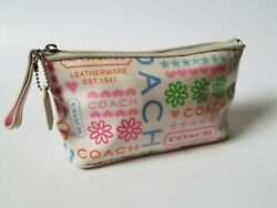 Coach Cosmetic Bag Zip Top Makeup Pouch Bandana Pastel Butterfly Hearts $26.99