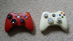 Two Special Edition Red And White Microsoft Wireless Xbox 360 Controllers Used