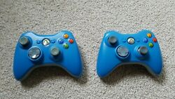 Two Special Edition Blue Original Microsoft Xbox 360 Wireless Controllers Used