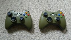 Two Special Edition Green Original Microsoft Xbox 360 Wireless Controllers Used