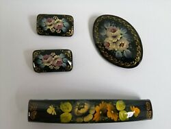 Vintage Russian Hand Painted Lacquer Floral Set Of 3 Brooch Pin 1 Hair Accessor
