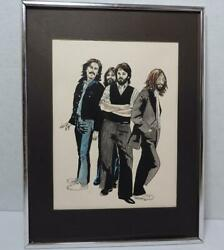 House Of Rock Beatles Painting Pen And Ink P.j. Carney Signed Beautiful