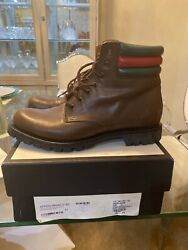 Classic Brown Web Detail Military Combat Boots Size 9.5