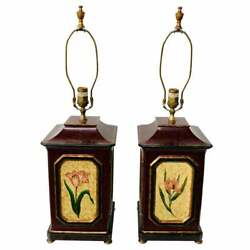 American Wooden Table Lamp With Floral Decoration A Pair