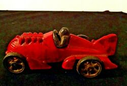 Antique All Original Red Hubley Boat Tail Race Car With Driver Jm 201