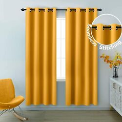 Koufall Yellow Curtains 84 Inch Length 2 Panels Grommet Light Blocking Insulated