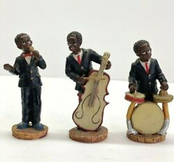 Vintage Set Of 3 Jazz Band Musician Resin Figurines 4 Tall