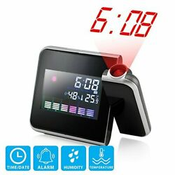 Digital Projection Weather LCD Snooze Alarm Clock Color Display LED Backlight 1x