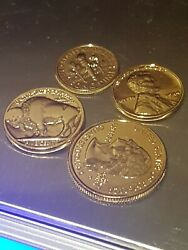 Complete Set Usa 24k Gold Plated 1944 Penny, Dime, Buffalo Nickel And Quarter