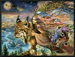 JOSEPHINE WALL Girl quot;Flight of the Lynxquot; Butterfly Peacock Greeting Card NEW