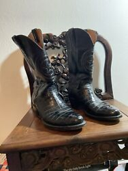 Black Jack Alligator Belly Cowboy Boots Made In Usa Sz 8 1/2 D Pre Own.