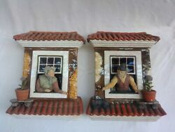 Palissy Portuguese Majolica Antique Pair Of Wall Planters.