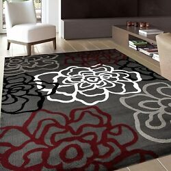 Contemporary Modern Floral Flowers Red/gray Area Rug 5and039 3 X 7and039 3