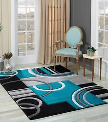 Glory Rugs Area Rug Modern 8x10 Turquoise Soft Hand Carved Contemporary Floor Ca