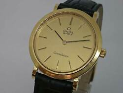 Omega Constellation Gold Color Dial Old Quartz Vintage Watch 1978and039s Rare
