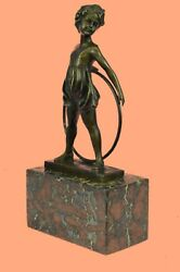 Innocent Girl Playing With Her Hula Hoop Bronze Marble Sculpture Art Figurine Nr
