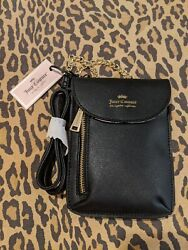 JUICY COUTURE BLACK CELLIE CROSSBODY GOLD TONE 29. M.S.R.P. NEW WITH TAG $17.00