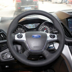 Hand Sewingblack Leather Steering Wheel Stitch On Wrap Cover For Ford Focus