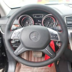 Hand Sewing Black Leather Steering Wheel Stitch On Wrap Cover For Benz Ml350