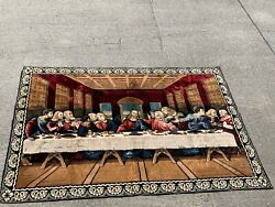 Vintage Persian Rug The Last Supper Jesus And The Disciples Wall Art 48/70 ❤️sj3j