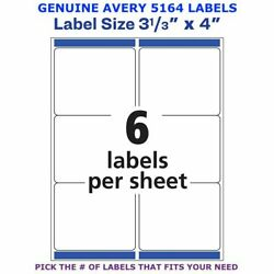 Avery Trueblock Laser Shipping Label 3 1/3 X 4 5164 Pick Your Own Of Label