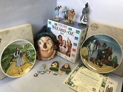 Vintage Lot Of Wizard Of Oz Knowles Plates, Enesco Figurines, Ornaments, Mask