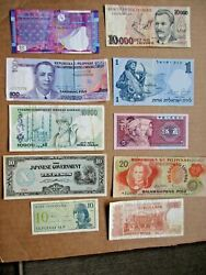 World Currency Lot Of 10 Notes Very Good-uncirculated Various Countries