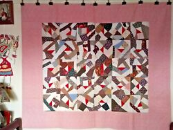 Abstract Squares In Frame, 1900 - 1920s, All Cottons, From Pennsylvania