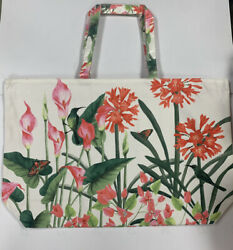 Estee Lauder White Floral with Butterfly Bird Large Tote Shopper Beach Bag *NEW* $10.99