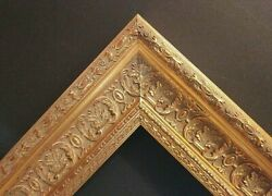 24 X 36 Std Picture Frame 2 3/4 Wide Ornate Gold Scoop W/ Glazing / Backing