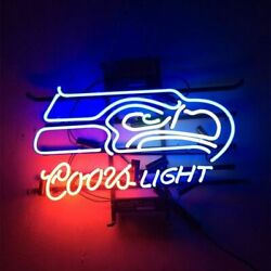 Seattle Seahawks Coors Light Neon Lamp Sign 20x16 Bar Beer Glass Display Decor