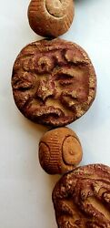 Pre Columbian Antiquities Clay Whorl Hand Carved Beads Antique Trading Mayan