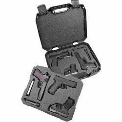6 Pistol Gun Case Hard Box Foam Padded Handgun Carrying Storage Lockable Six NEW