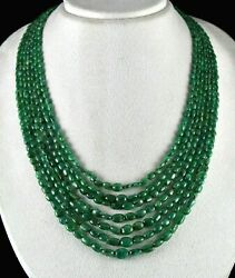 Antique Natural Emerald Beads Nugget 7 String 471 Carats Gemstone Necklace