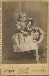 Beautiful Smiling Girl Posing With Doll Toy Antique Cabinet Photo Lock Haven Pa