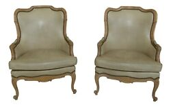 31906ec Pair Hancock And Moore Leather French Style Arm Chairs