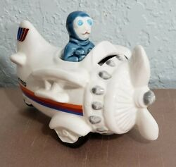 Vintage United Airlines Plane Coin Bank Ceramic