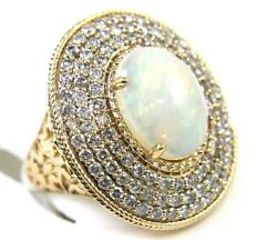 Natural Oval Fire Opal And Diamond Halo Solitaire Ring 14k Yellow Gold 5.45ct