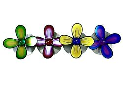 Rare Large Haziza Abstract Flowers Art Acrylic And Steel Wall Sculpture Israel