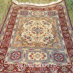Yilong 4and039x6and039 Antique Silk Rugs Handmade Carpet Flooring Hand Knotted 1916
