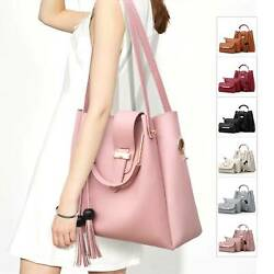 3Pcs Set Women Leather Handbag Purse Messenger Shoulder Bag Tote Wallet Clutch $17.99