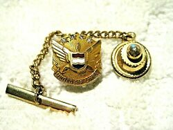 United Airlines 10 K Gold 4 Diamond Employee Tie Tack/lapel Pin