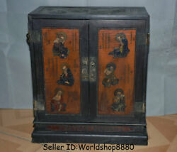 21.2 China Wood Lacquerware Painting Dynasty 18 Arhan Buddha Cupboard Cabinet