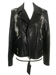 Nwt 4899 Leather Jacket With Crystals Size 42 Sold Out