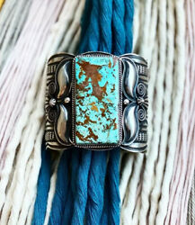 Navajo Andy Cadman Pilot Mountain Turquoise Cuff Signed