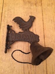 Cast Iron Rooster Welcome Bell Dinner Bell 8 Tall Wall Mounted 02124